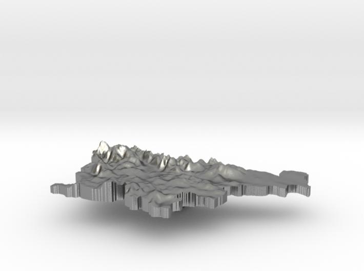 Slovenia Terrain Silver Pendant 3d printed
