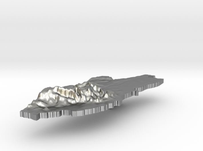 Belize Terrain Silver Pendant 3d printed