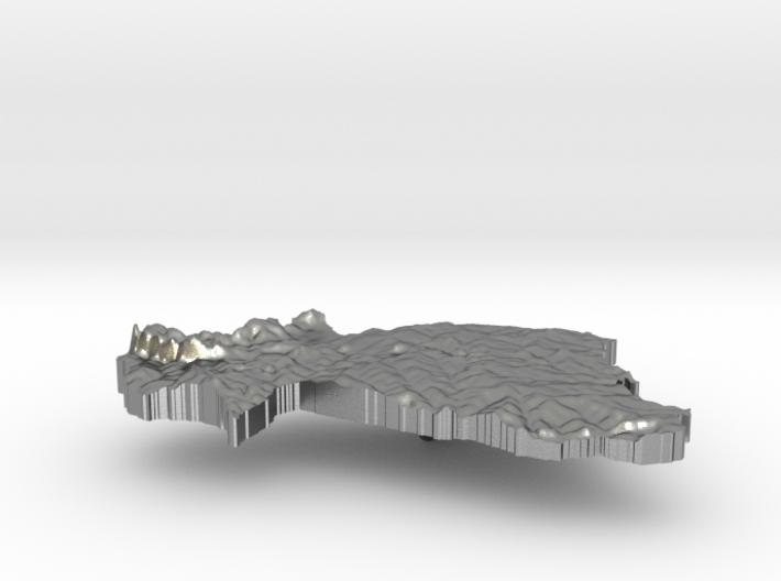 Burkina Faso Terrain Silver Pendant 3d printed