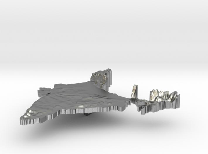 India Terrain Silver Pendant 3d printed