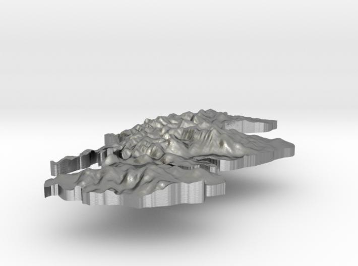 Scotland Terrain Silver Pendant 3d printed