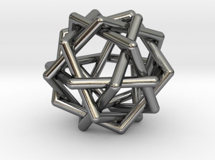 Six Tangled Pentagons 3d printed