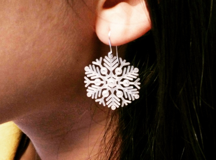 Snowflake Earrings 3 3d printed Printed with a different design, same material. Finished with generic earring hooks.
