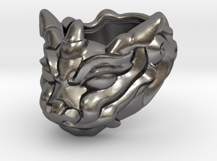"Fu Dog (Komainu) ""um"" Ring 3d printed This material is Polished Silver , Patinated with bleach"