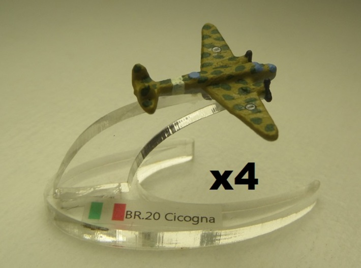 Fiat BR.20M Cicogna 1:900 x4 3d printed Comes unpainted without stands. Set of 4 planes.