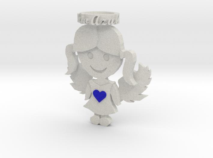 Pendant Full Color Sandstone Blue Angel Girl 3d printed