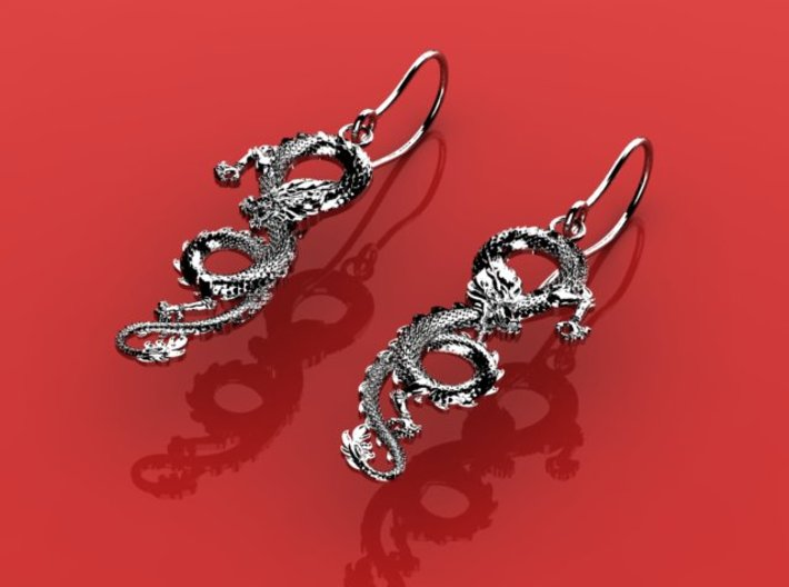 Dragon earrings 3d printed
