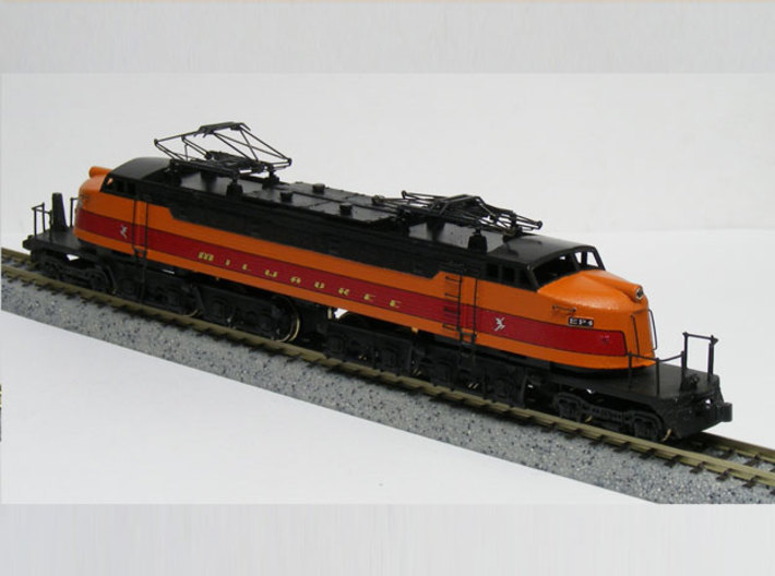 NScale EF4 Little Joe, Milwaukee Road Early with F 3d printed Model built and painted by custom modeler Jeff King of MilwaukeeRoadTrainShop.com. Photo by Jeff King.