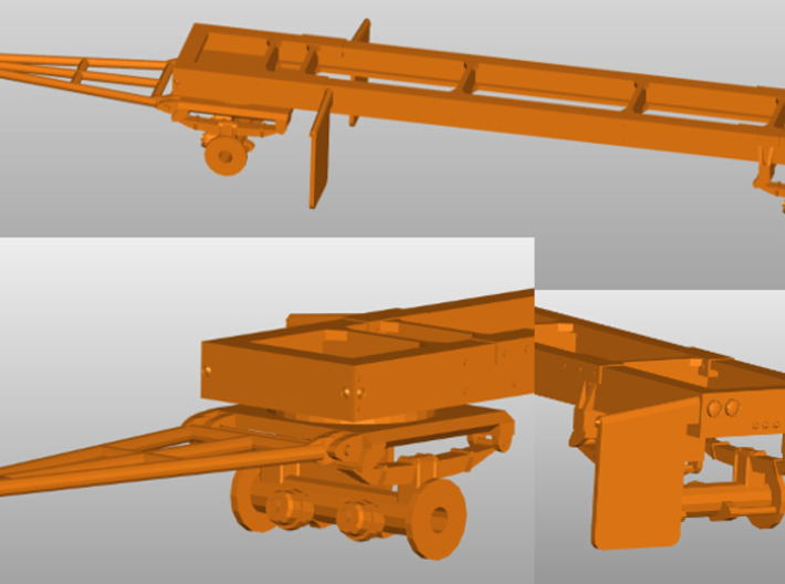 1/87th HO Scale Short log Logging trailer 3d printed A general pic of how it looks assembled without the bunks, available seperately