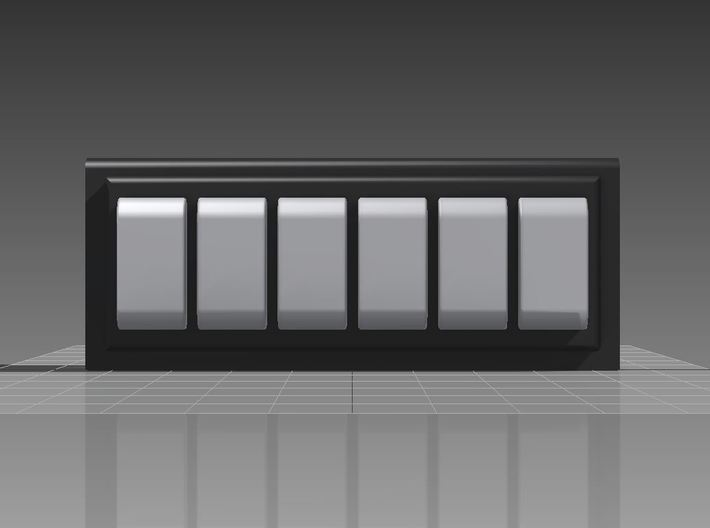 Six Position V-Series Switch Holder Version 3d printed With Rocker Switches added