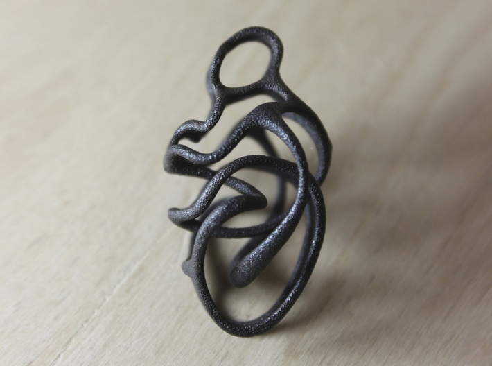 Entangled pendant 3d printed Matte Black Steel