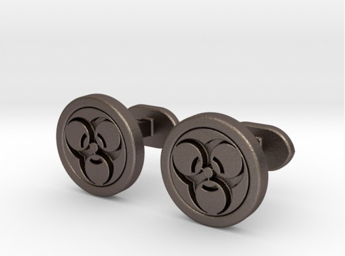 Biohazard Cufflinks 3d printed