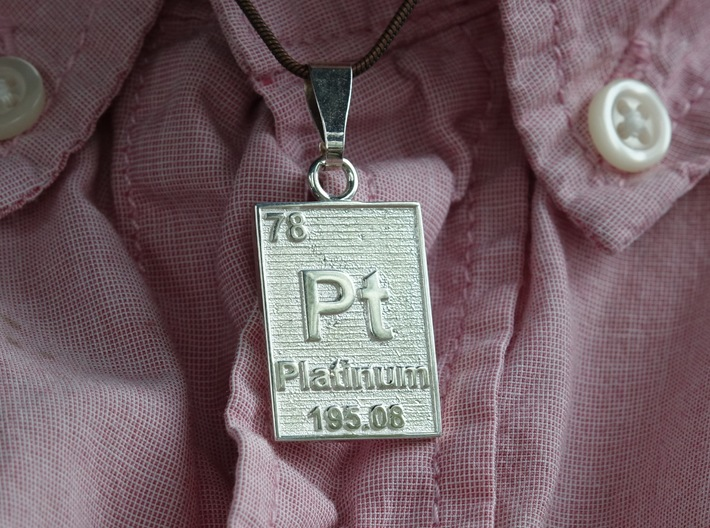Platinum Periodic Table Pendant 3d printed The pendant printed in polished silver. This gives you a good idea of what platinum print would look like.