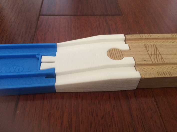 Male Tomy to Female Wooden Railway 3d printed Shapeways print in White Strong & Flexiblematerial