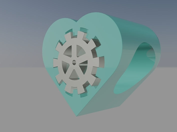 Steampunk Heart Bead (5mm Hole) 3d printed hand paint your bead