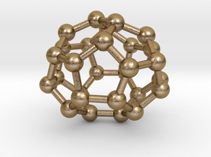 0004 Fullerene c28 d2 3d printed Polished Gold Steel