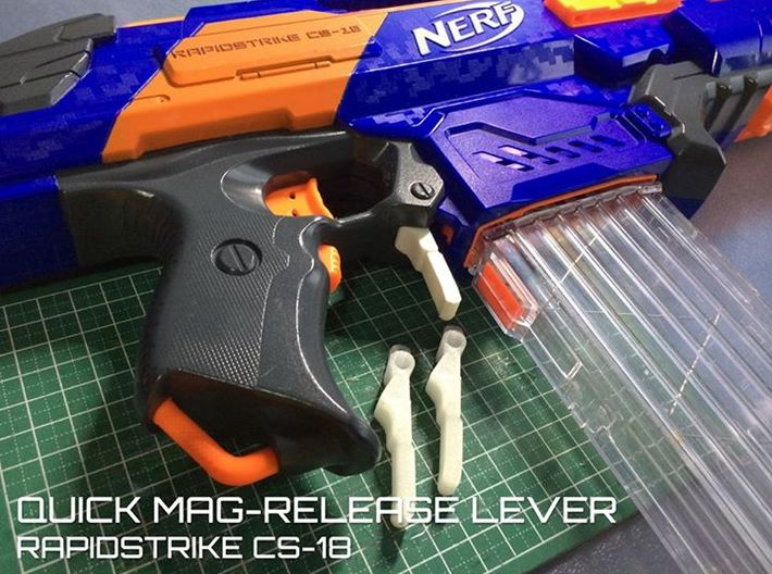 Quick Mag-release lever (Nerf Rapidstrike) 3d printed