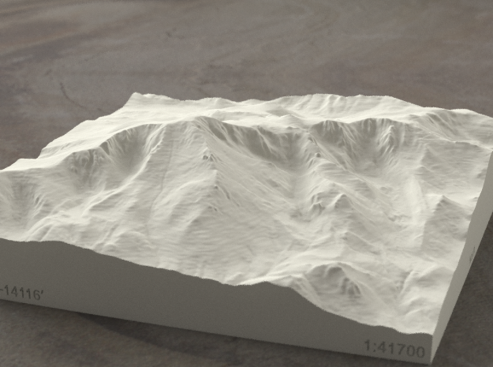 6'' Pikes Peak, Colorado, USA, Sandstone 3d printed