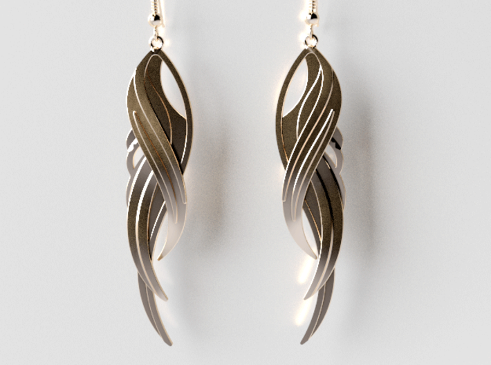 Feather Earrings 3d printed 14K Gold