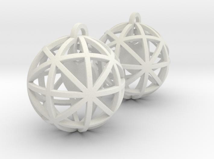 Earrings Heart In  A Sphere - 2 Pcs 3d printed