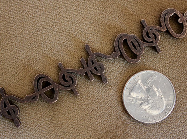 """""""T'hy'la"""" (Friend/Brother/Lover) Vulcan Necklace 3d printed Pictured: Polished Bronze Steel"""