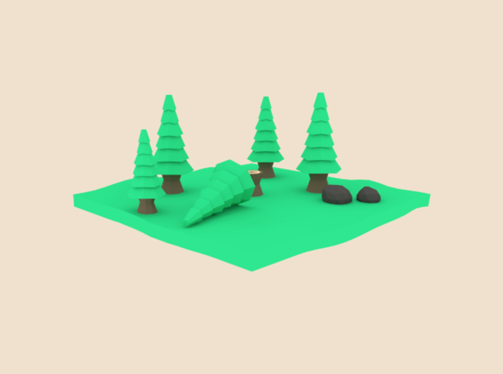 Low-Poly Forest [Beveled & Hollowed] 3d printed