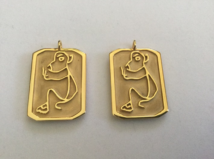 Chinese Astrology Monkey Character Earrings 3d printed Gold Plated Brass