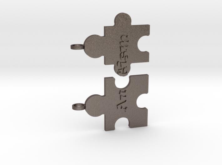 Autism Puzzle Peices Necklace 3d printed