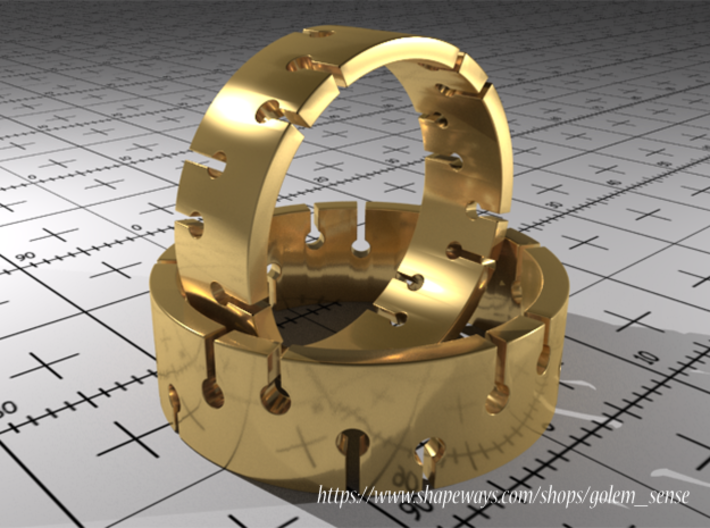 Ring Model A - Size 6 - Gold 3d printed