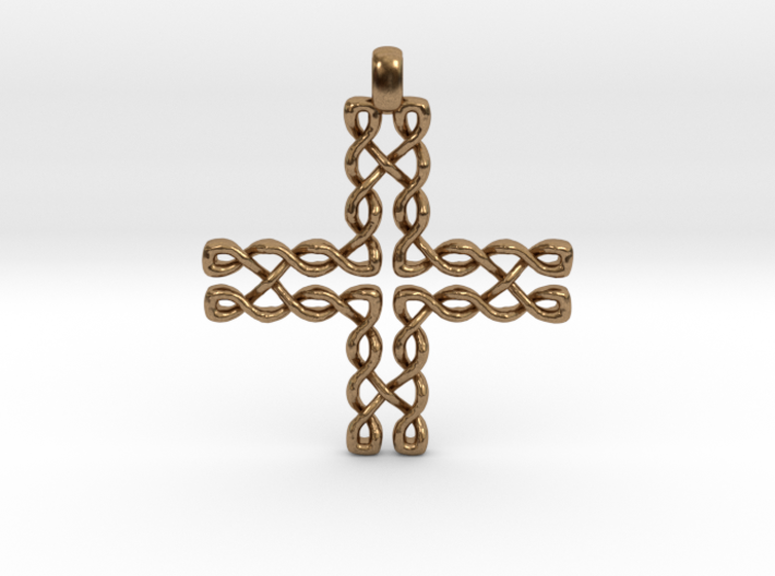 CELTIC CROSS Jewelry Pendant in Bronze | Brass | S 3d printed