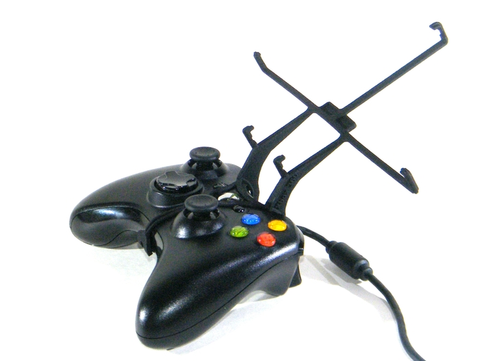 Xbox 360 controller & Tesco Hudl 2 - Front Rider 3d printed Without phone - A Nexus 7 and a black Xbox 360 controller