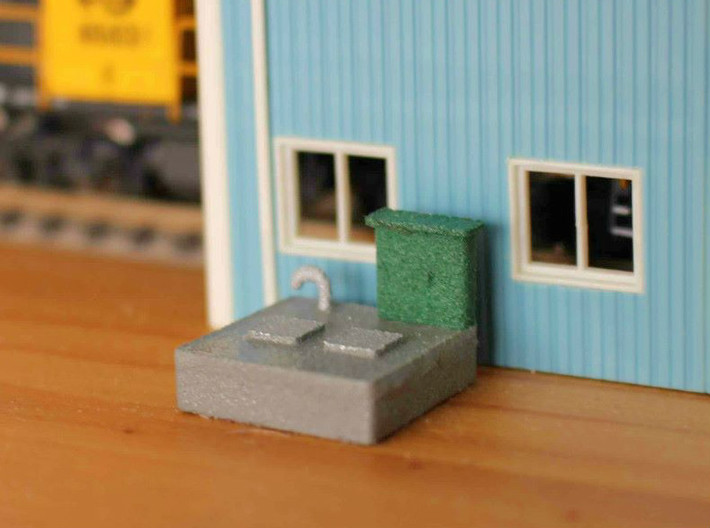 N scale Sewer Pumping Station 3d printed Painted version in White Strong Flexible. Grey and silver areas have two coats of paint, green area has one coat.