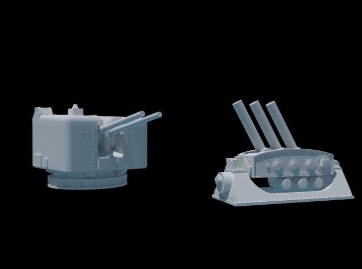 4.5 Mk6 Naval Gun and Limbo Mk 10 Mortar. 1/350. 3d printed After Assembly