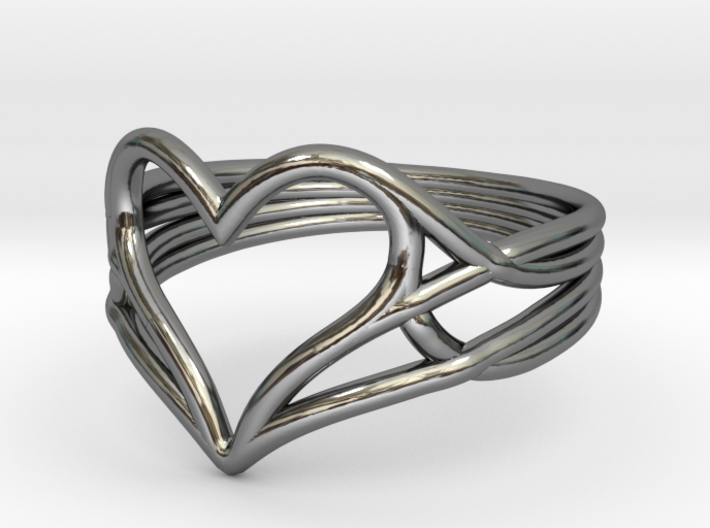 Woven Heart Ring - Larger (Size 7) 3d printed