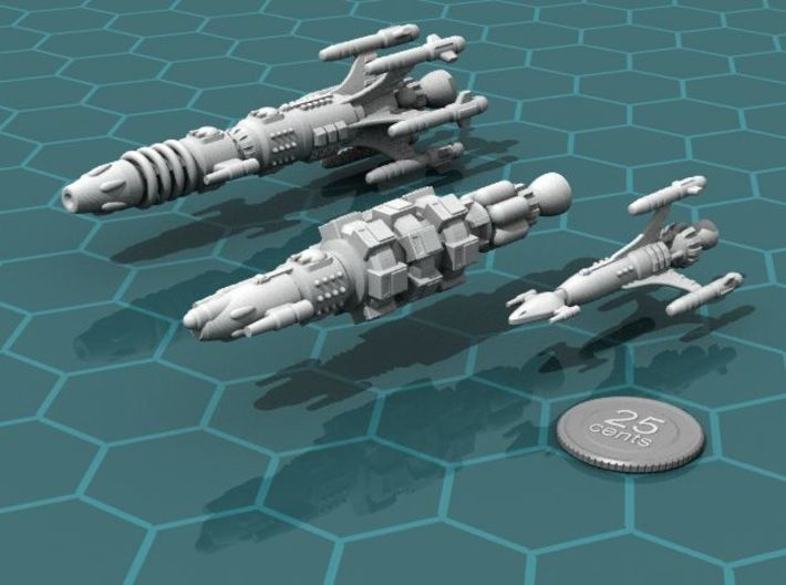 Privateer Rhino class Carrier 3d printed Carrier, with Buffalo and Antelope in formation.