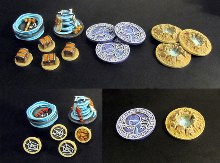 Claustro Tokens (12 pcs) 3d printed White Strong Flexible, hand-painted.