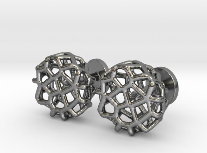 Organic Round Cufflinks 3d printed