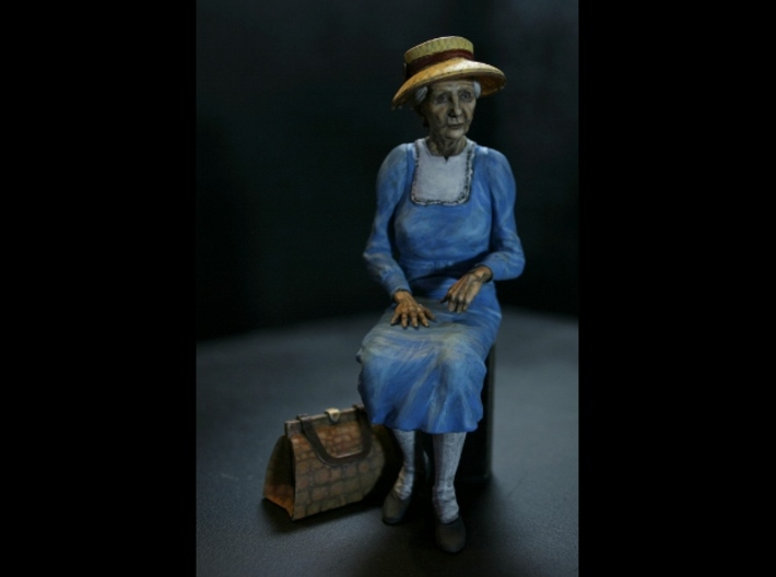 7/8ths Scale Old Lady sitting on Park Bench 3d printed Mz M with Hat and Bag
