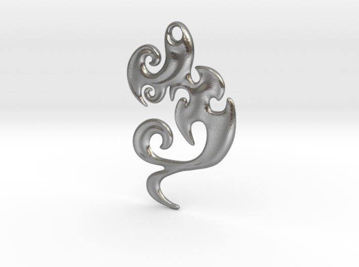Abstract Pendant 'Waves and Fins' 3d printed