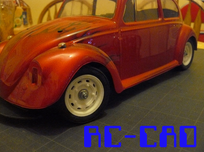 Porsche 356 rims for M-chassis 3d printed On a Tamiya M-02L with beetle body (not included)
