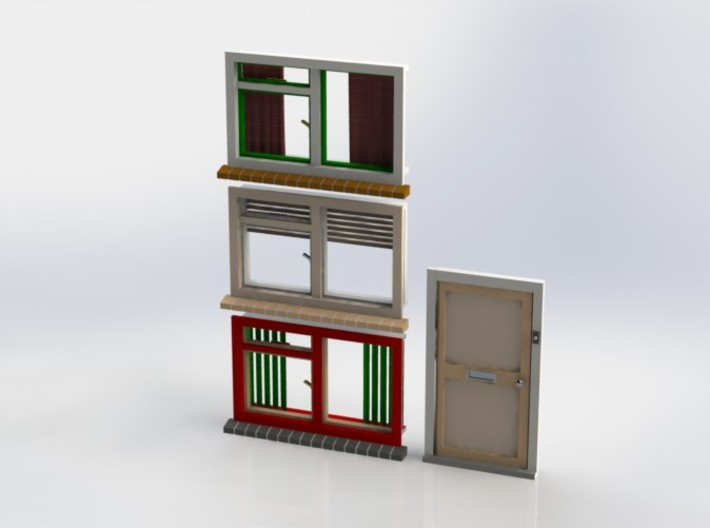 Set A001 of windows and door. Scale 1 / 1:32 / 1:3 3d printed