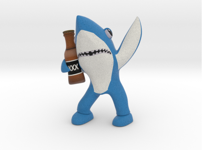 Blue Drunk Shark 3d printed