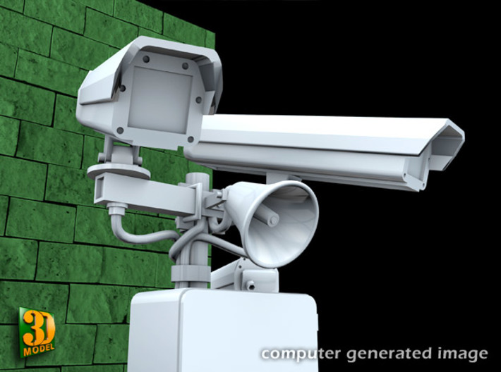 Surveillance Cameras (1:35) 3d printed set of two on roofstand