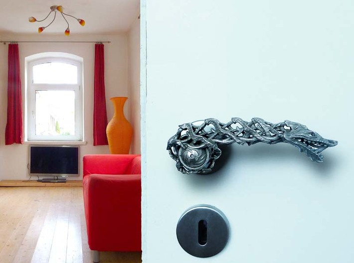 Dragon doorhandle 006 3d printed dragondoorhandle no.6 - 3D print in steel, mounted