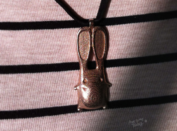 Bunny Earrings and Pendant Set 3d printed Bunny pendant - Stainless Steel