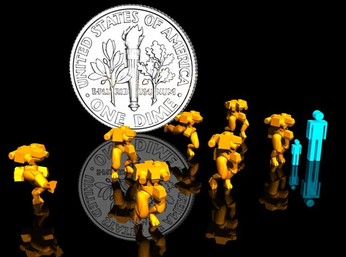 3mm/6mm BipedBots Mk9 3d printed Render with 3mm & 6mm figure for reference.