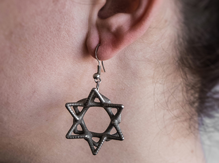Star of David 3d printed Shepherd hook ear wires not included - you can wear it how you want