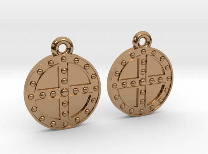 RoundShield Earrings 3d printed