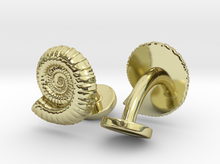 Ammonite Cufflinks 3d printed