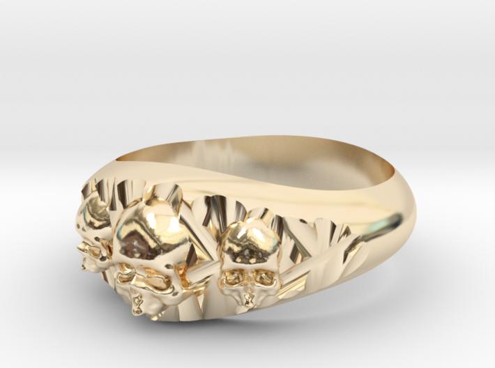 Cutaway Ring With Skulls Sz 11 3d printed